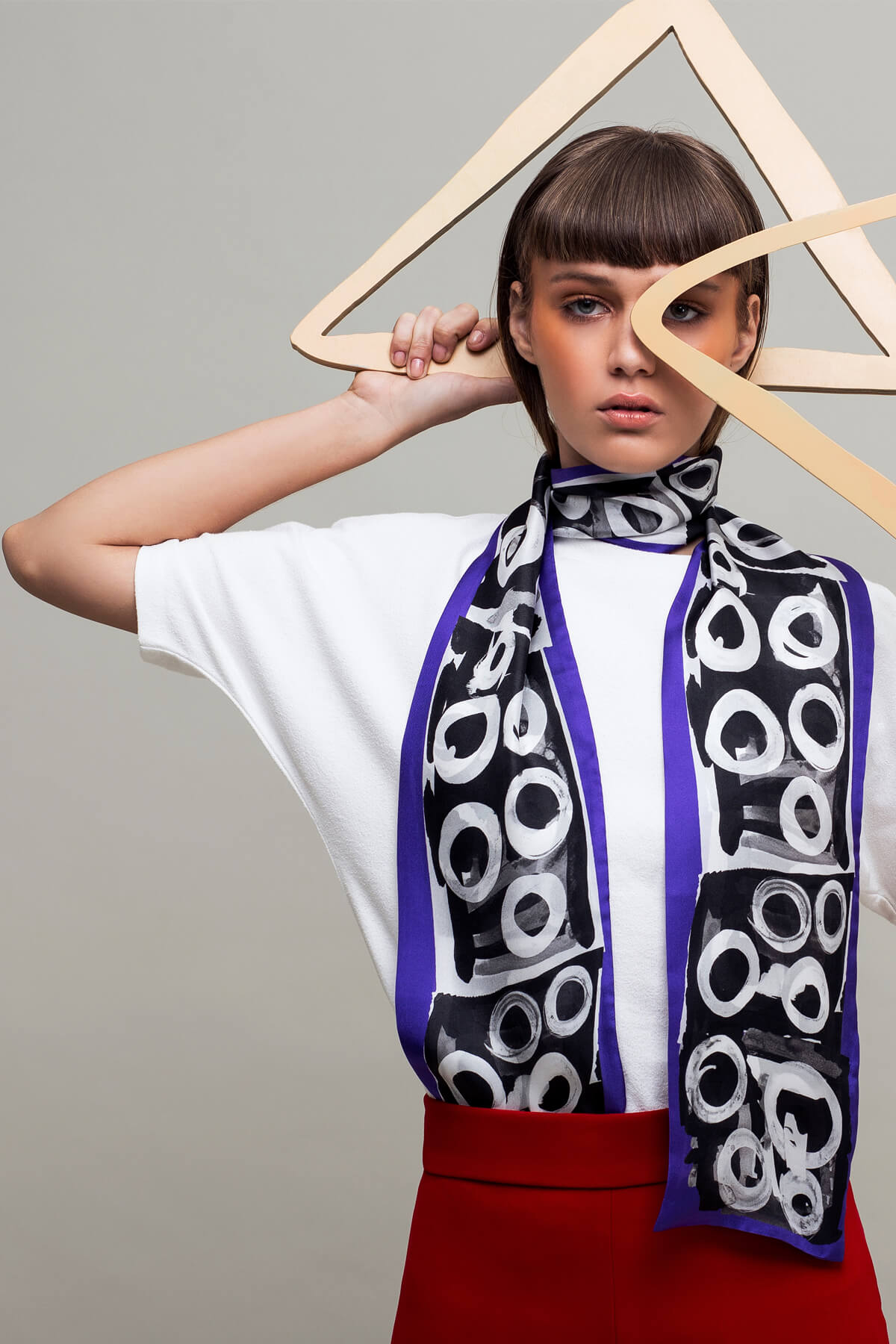 Black and Purple Circles Printed 100% Silk Scarf