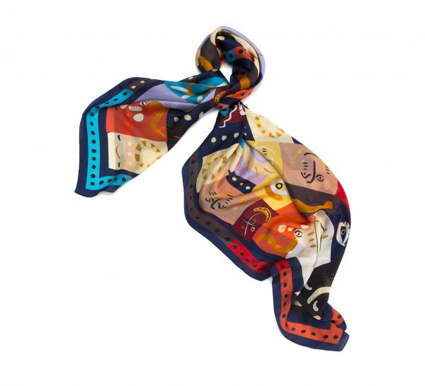 big square silk scarf, printed scarf in red, light summer scarf by dikla levsky, made in italy