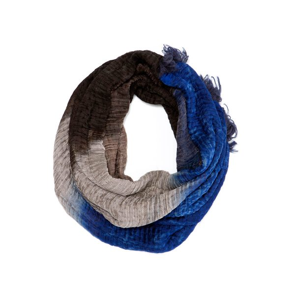 hand dyed silk and wool circle scarf, one of a kind blue, grey and black loop scarf, dikla levsky