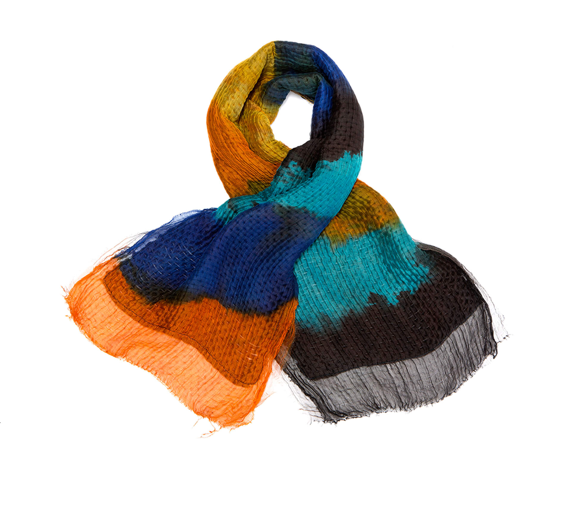 Hand dyed scarf, Silk and wool shawl, Colorful handmade wrap scarf, Orange, Blue, Black, Tourquoise, Original by Dikla Levsky