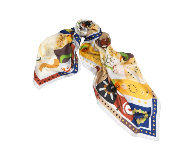 printed silk square scarf, huge light designer scarf, made in italy by dikla levsky,