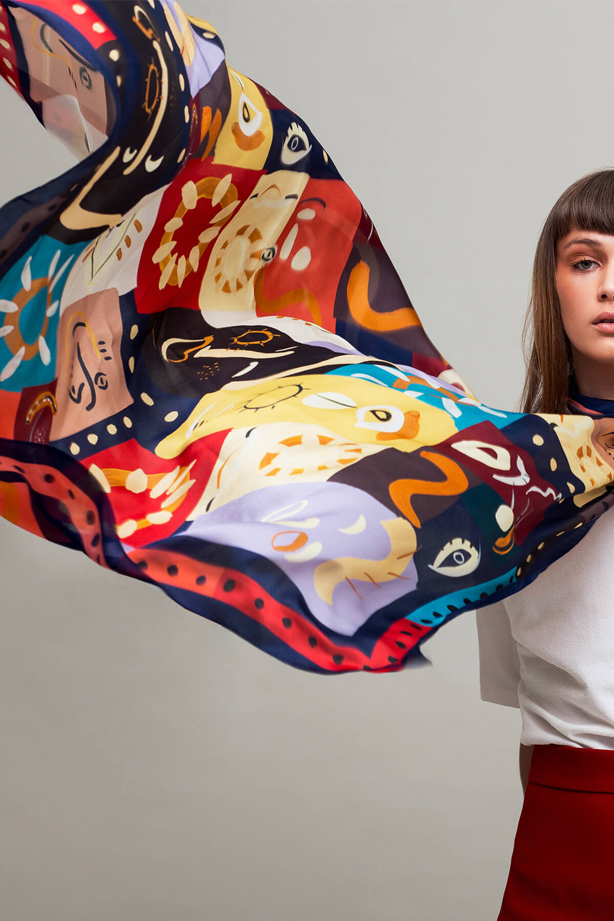 New Woogie Lightweight Square Pure Silk Scarf