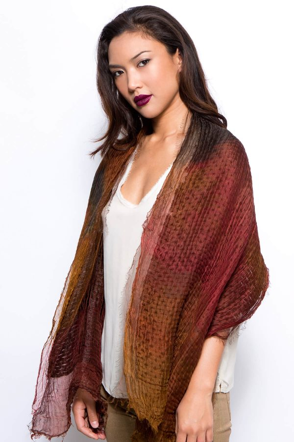 silk and wool soft shawl, handmade designer scarf, hand dyed wrap scarf, chocolate brown, Marsala and rust, one of a kind, sample sale