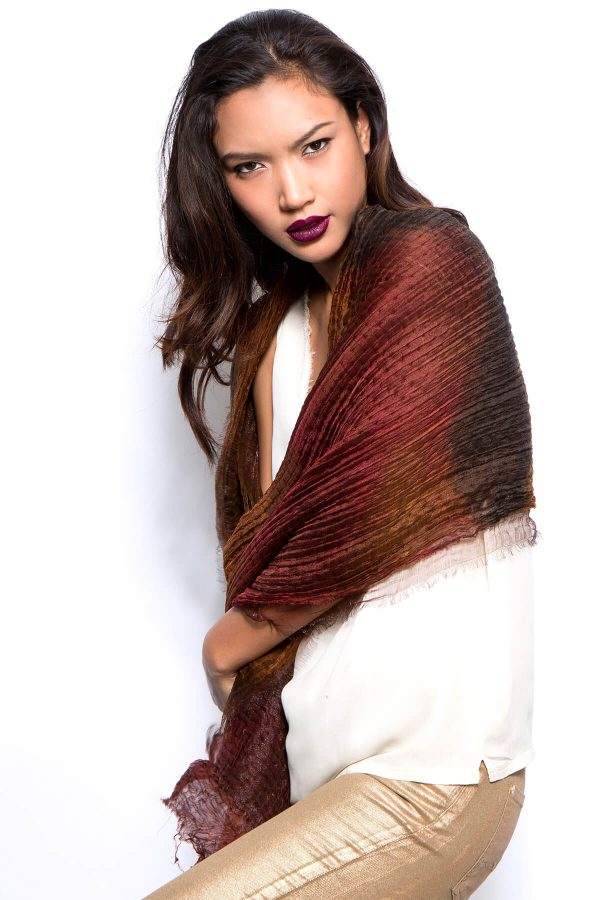 handmade silk and wool shawl, marsala hand dyed scarf, one of a kind scarf, handmade by dikla levsky