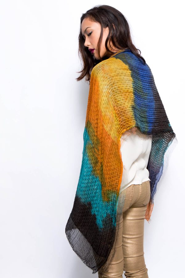 hand dyed scarf, sample sale, silk and wool hand dyed scarf, one of a kind sample scarf by dikla levsky