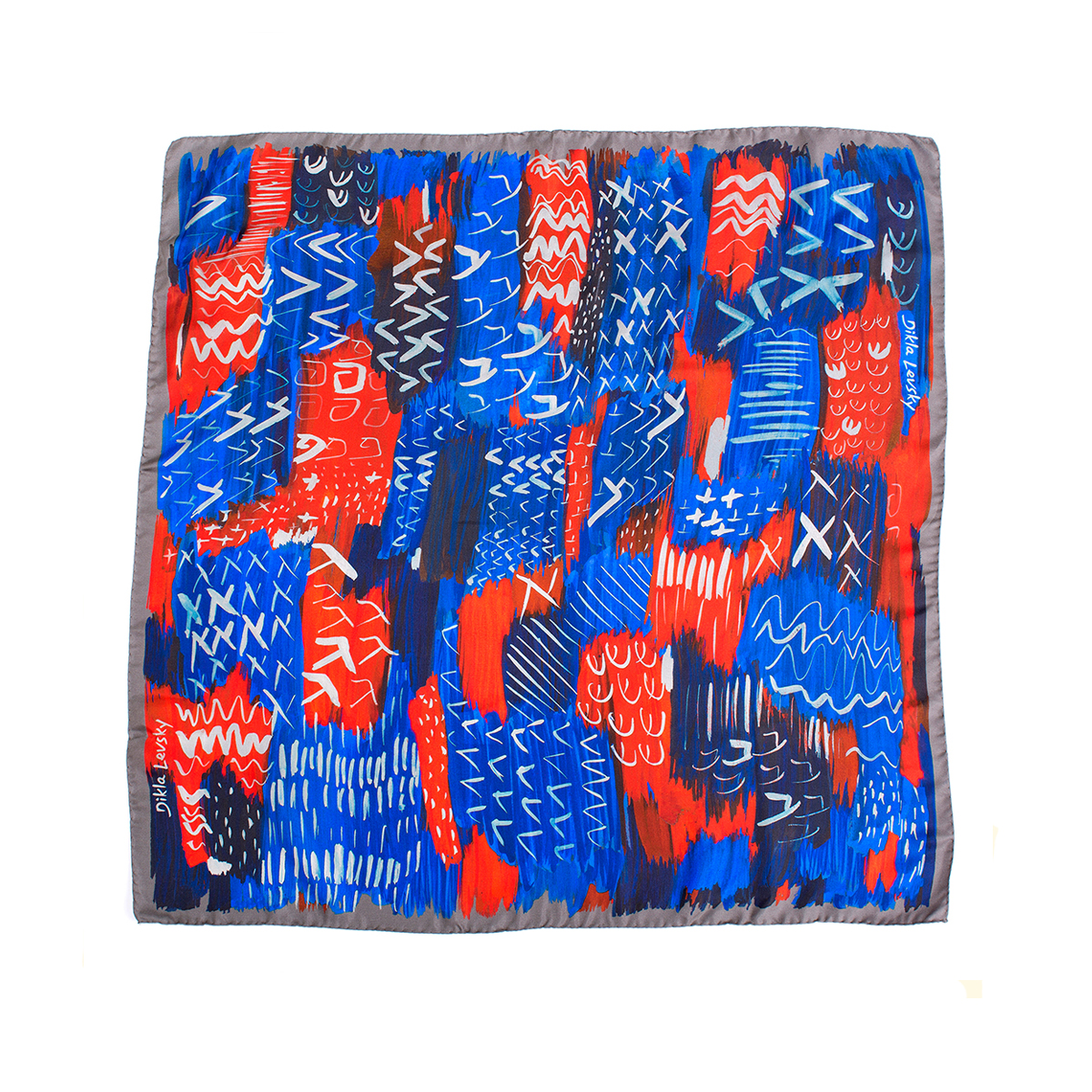 square silk scarf, one of a kind sample, printed ethnic bold scarf by dikla levsky