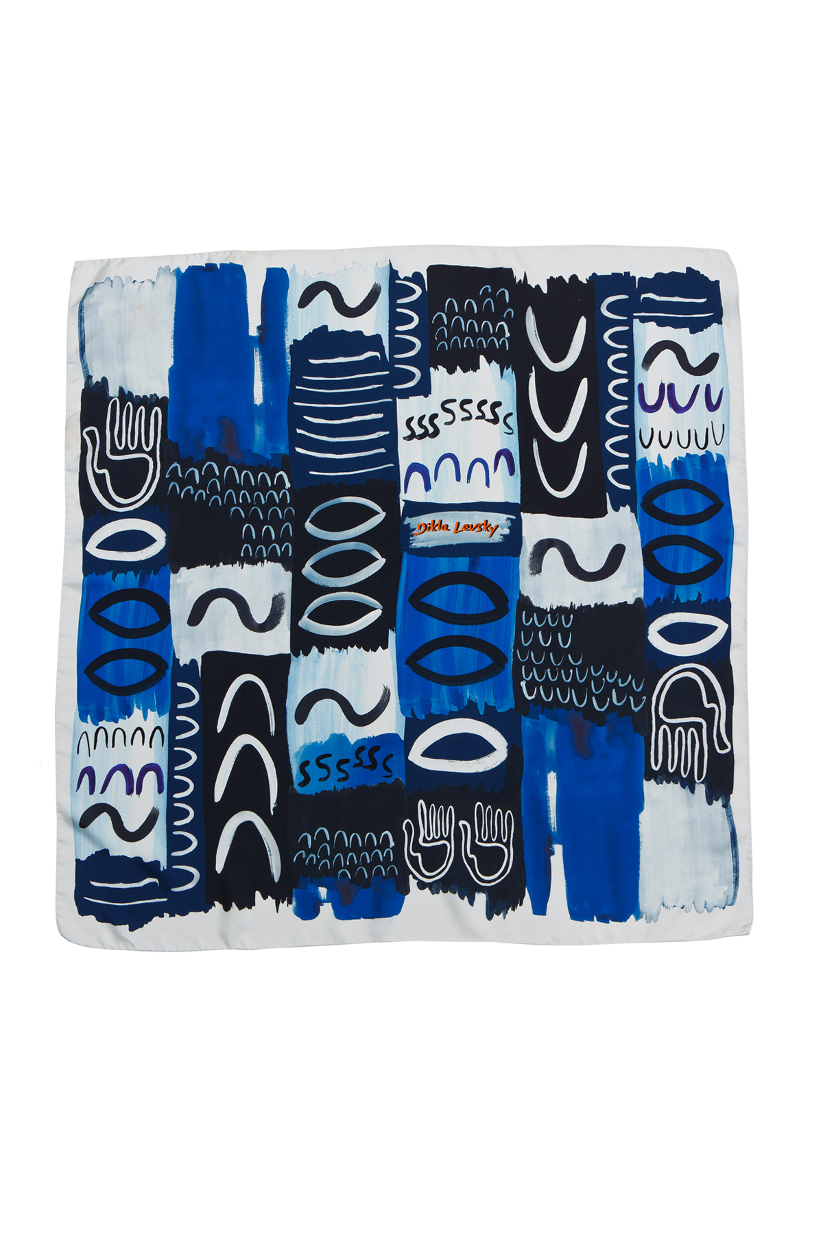 blue, black and white silk luxury scarf, made in italy