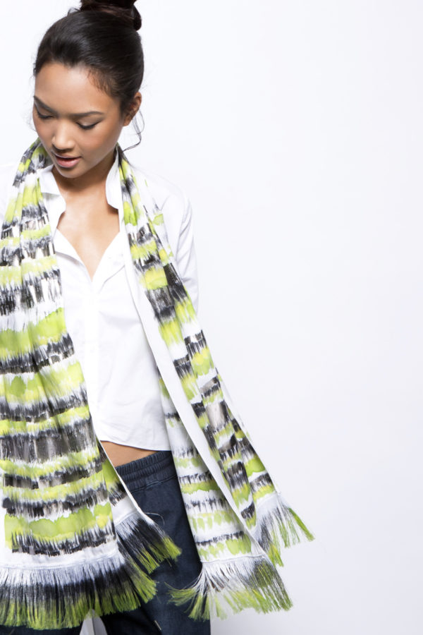 hand printed silk scarf, dikla levsky, striped fringe scarf in neon yellow
