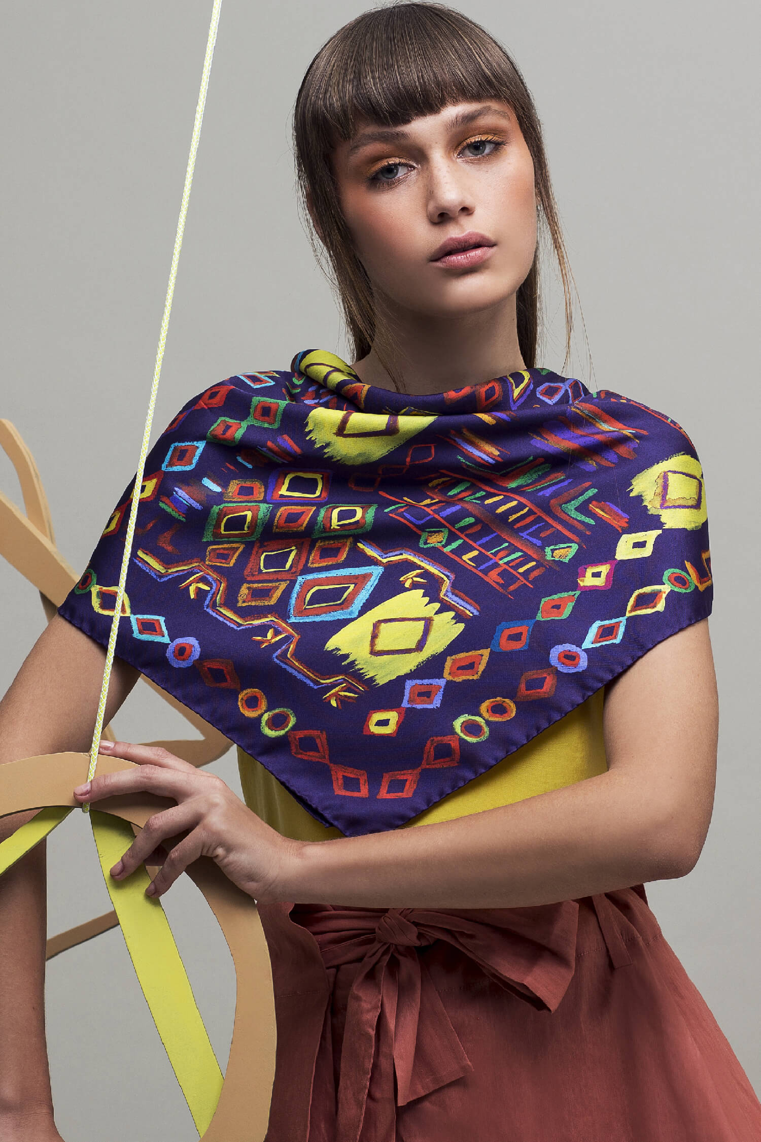 printed silk scarf, square purple and yellow twill scarf, dikla levsky
