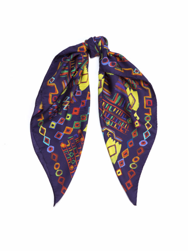 ethnic printed silk scarf, rug scarf by dikla levsky, made in italy, purple and bright yellow twill scarf