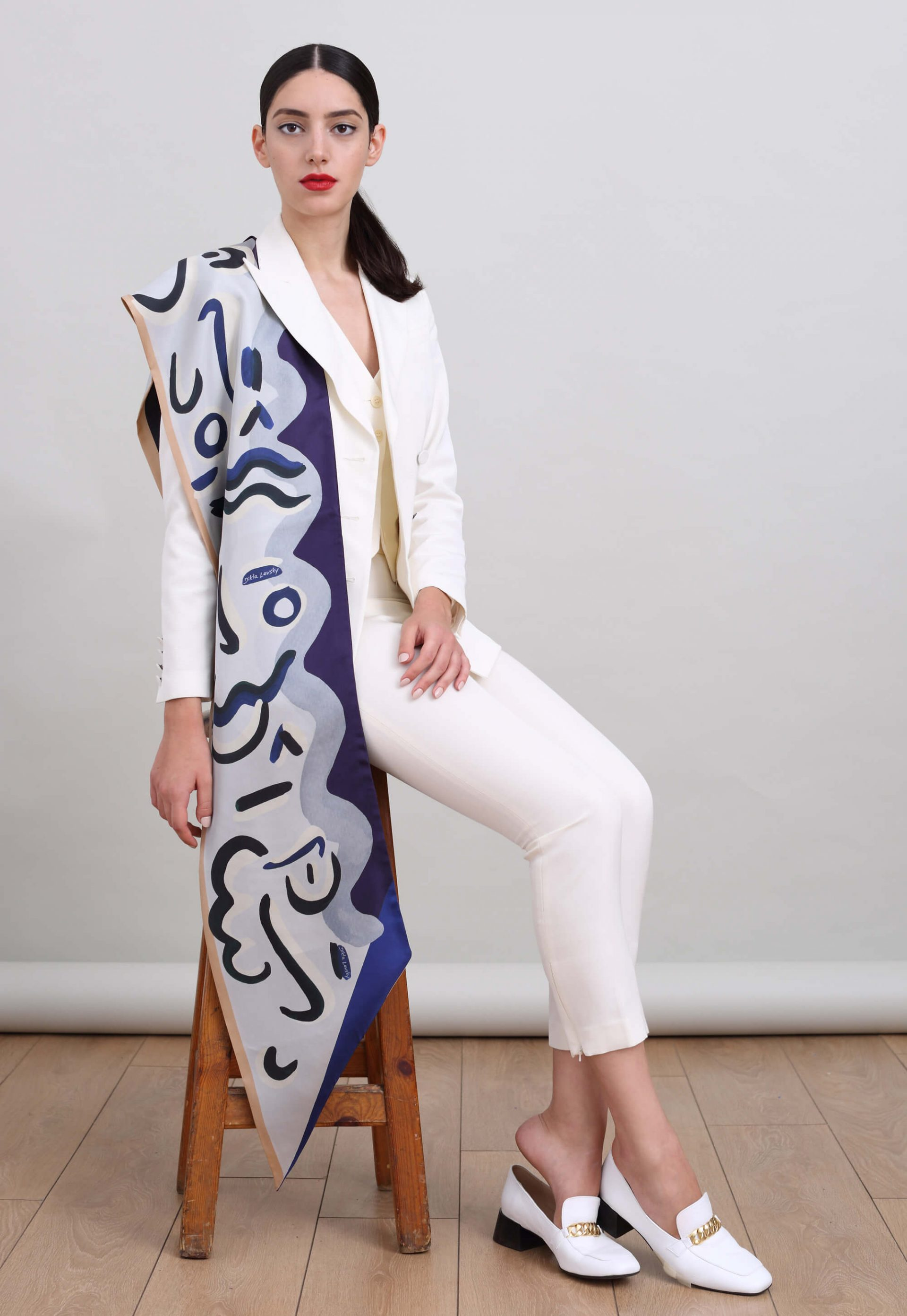 Blue and White printed silk scarf, Double sided twill long twill scarf by Dikla Levsky