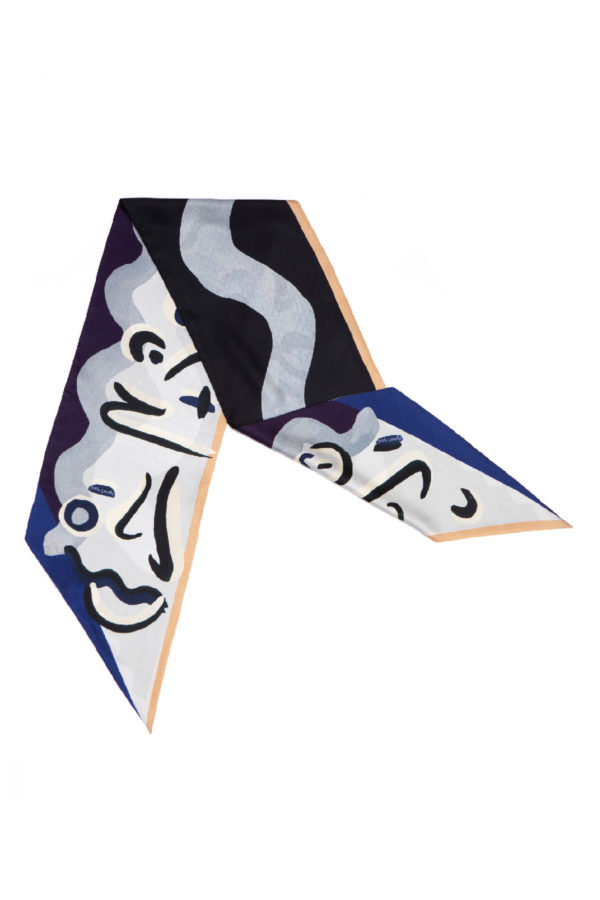 Black and Blue bias cut silk scarf