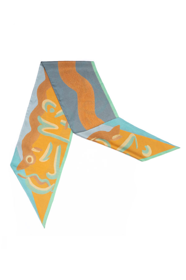 printed silk twill scarf in quiet mint and sand