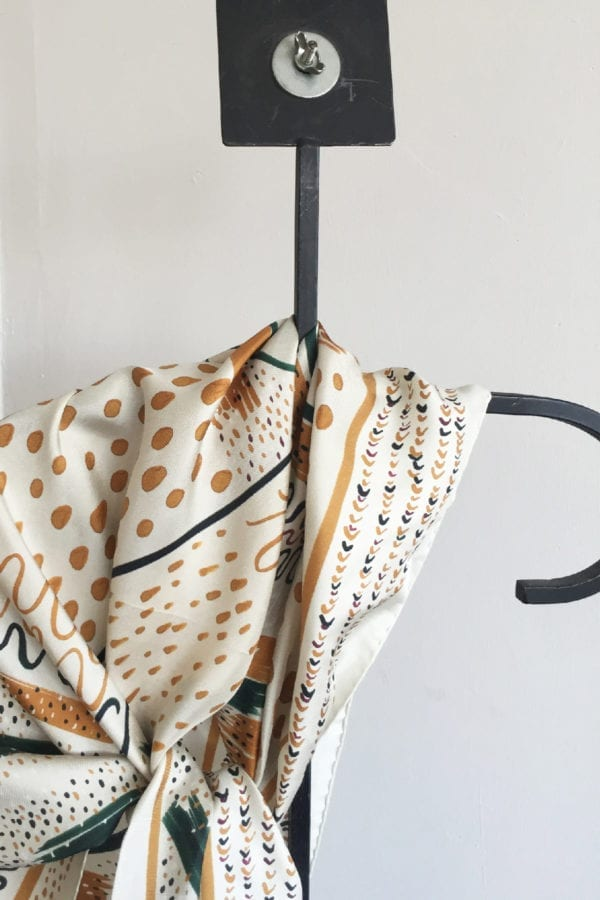 giant triangle printed scarf in white and brown