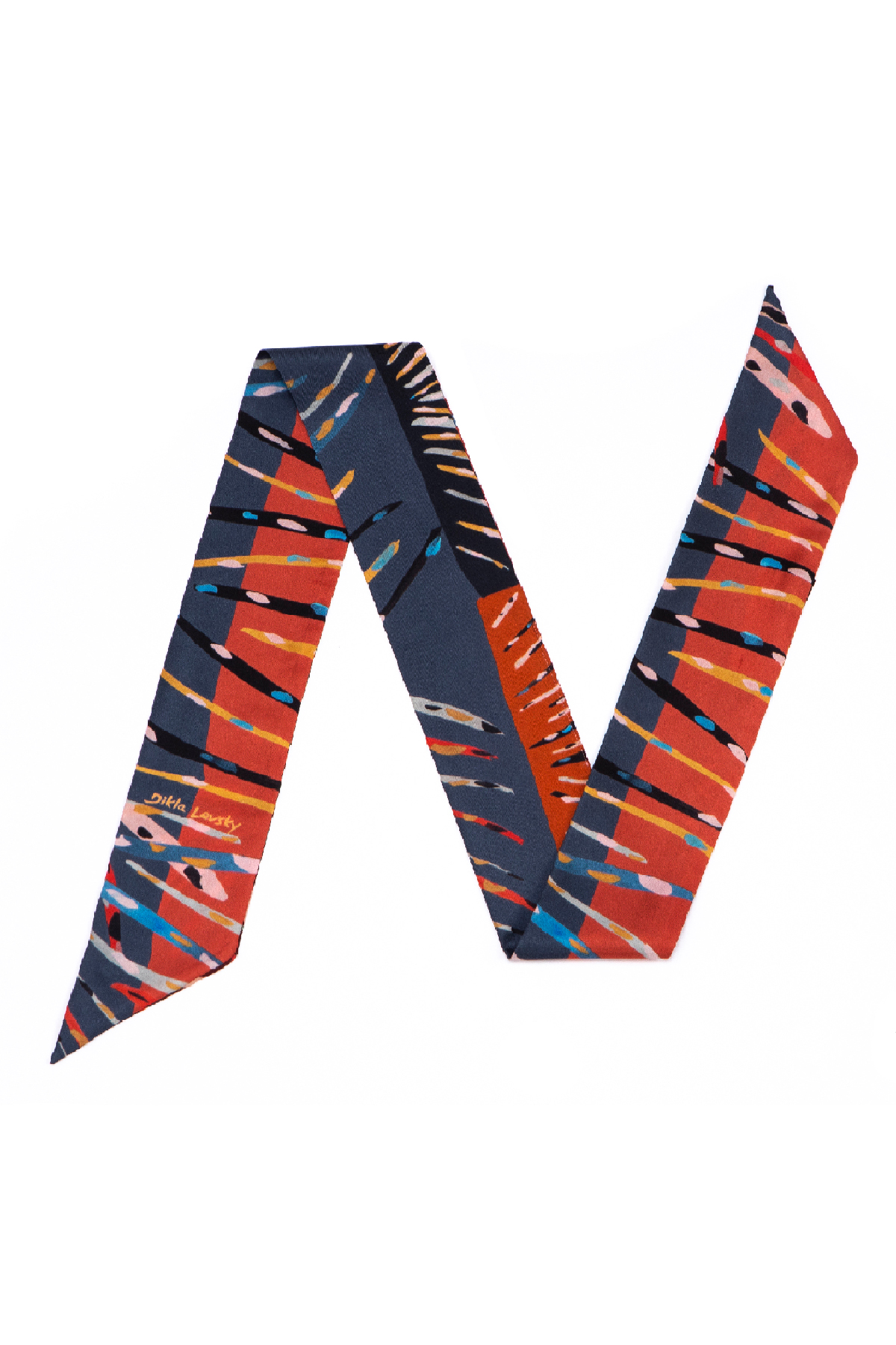 printed silk twill mini scarf, reversible elegant red and blue scarf