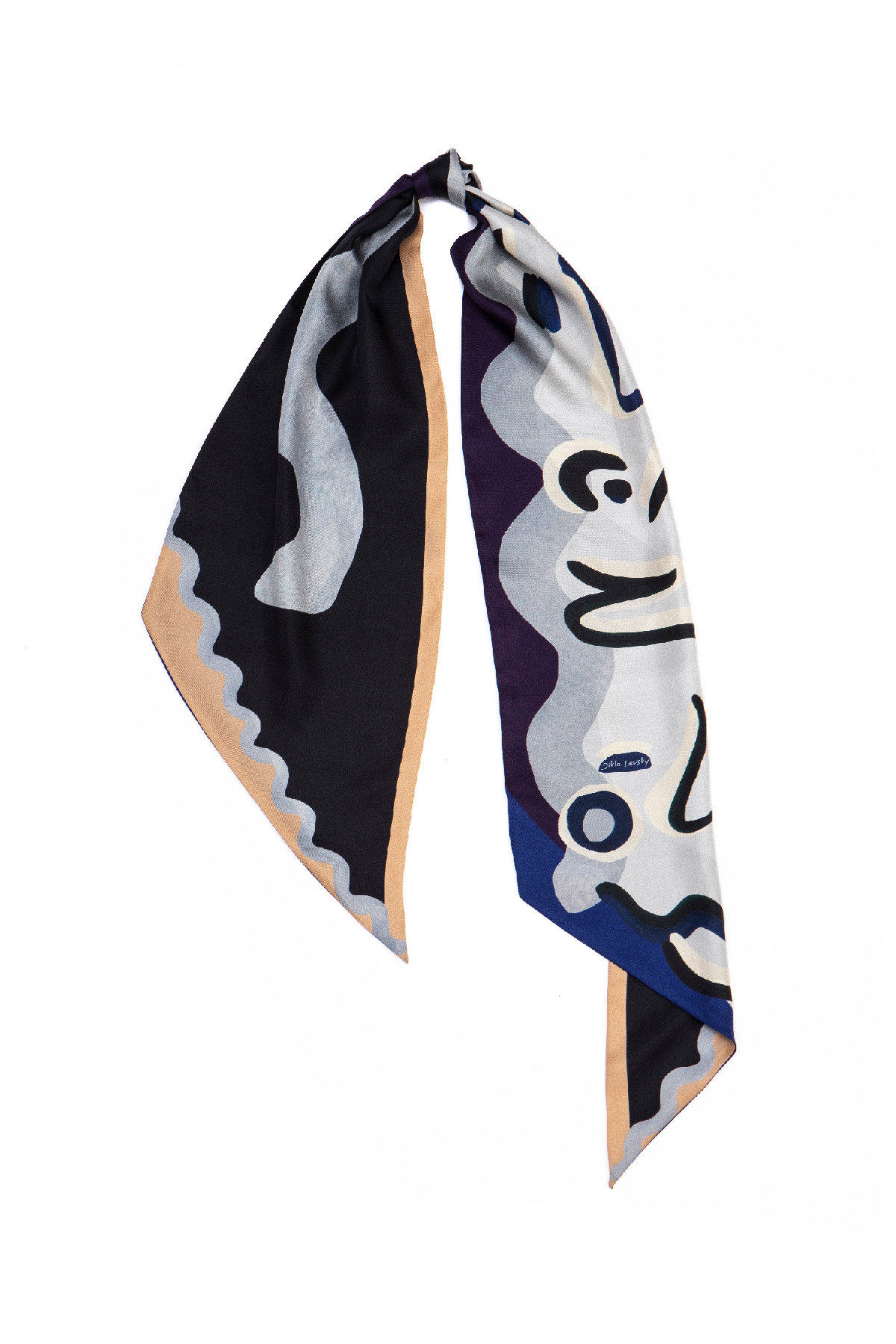 printed blue and black long scarf