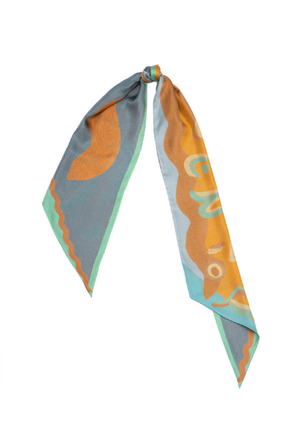 printed long scarf in grey and tan brown