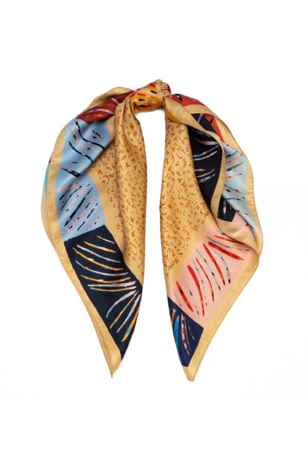 printed silk twill scarf. Ginger colorful printed scarf by Dikla Levsky