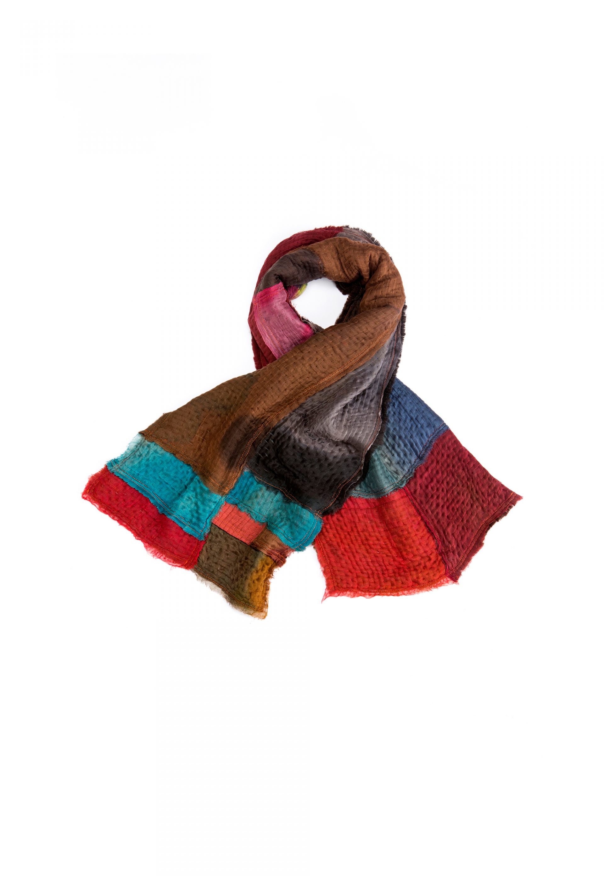 patchwork handmade shawl, colorful silk and wool scarf