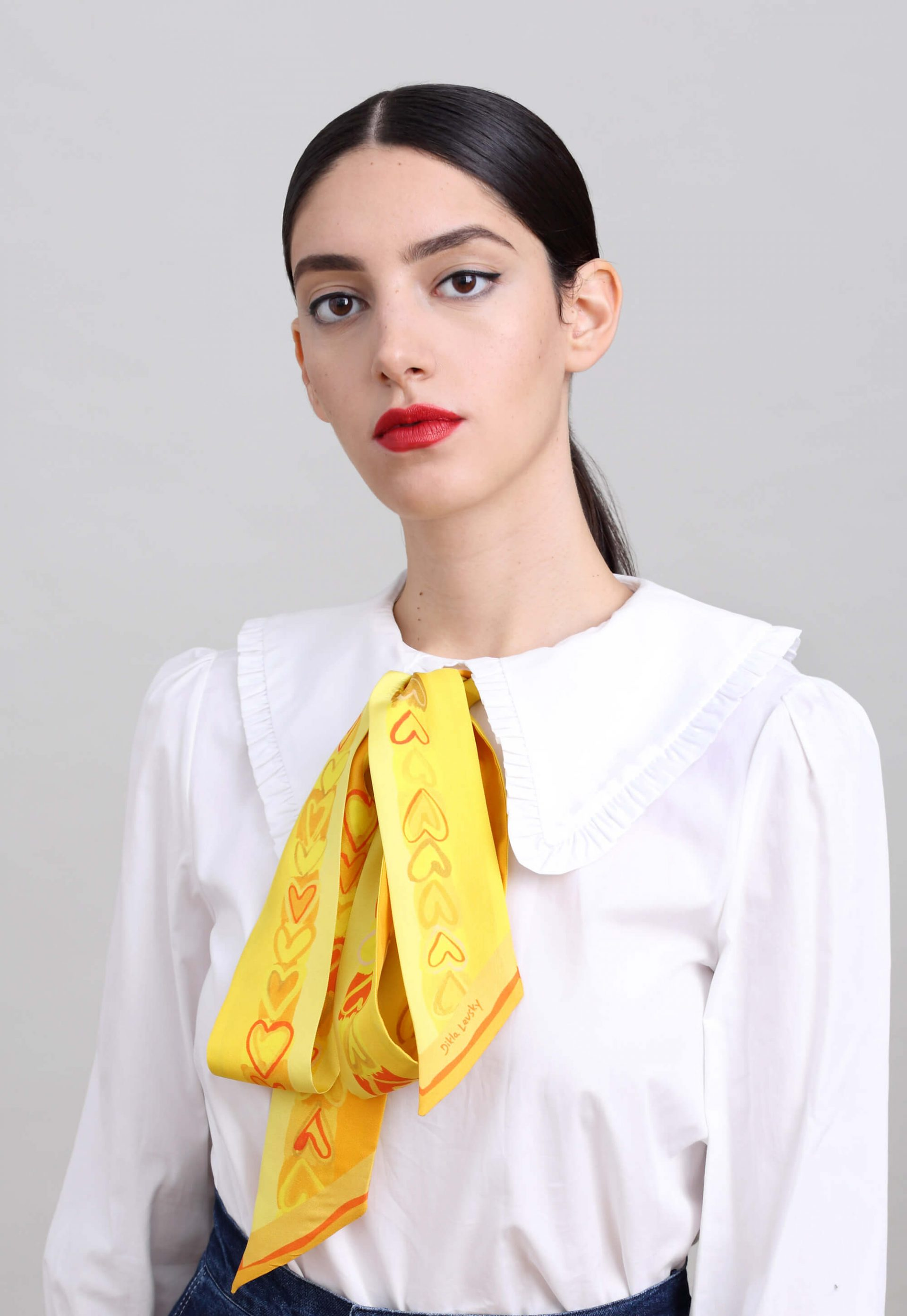 Yellow printed narrow silk scarf, Silk Twilly with Hearts