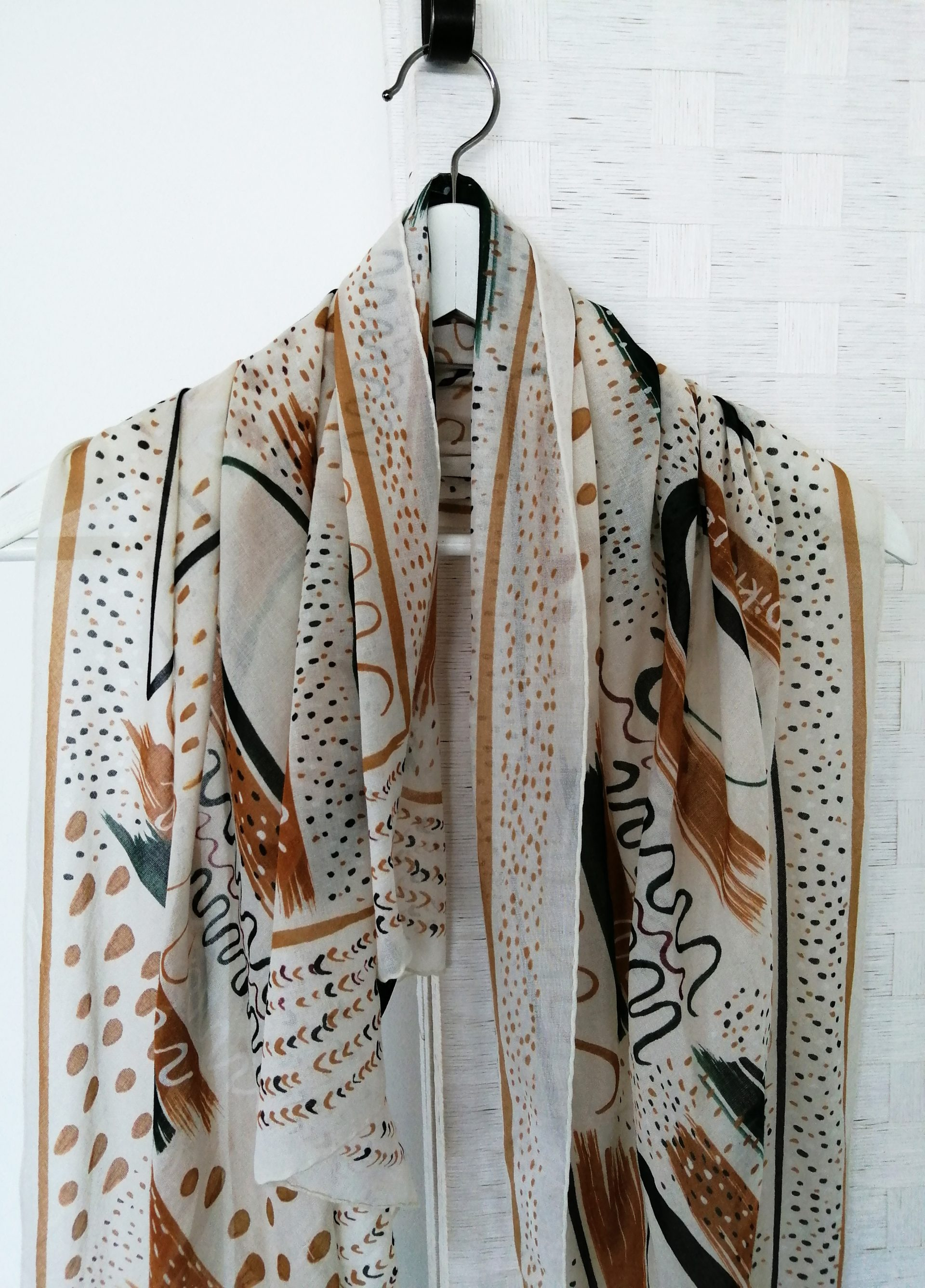 Huge cotton triangle scarf, Printed big Off- White light and airy summer shawl, Made in Italy, Designer scarf by Dikla Levsky