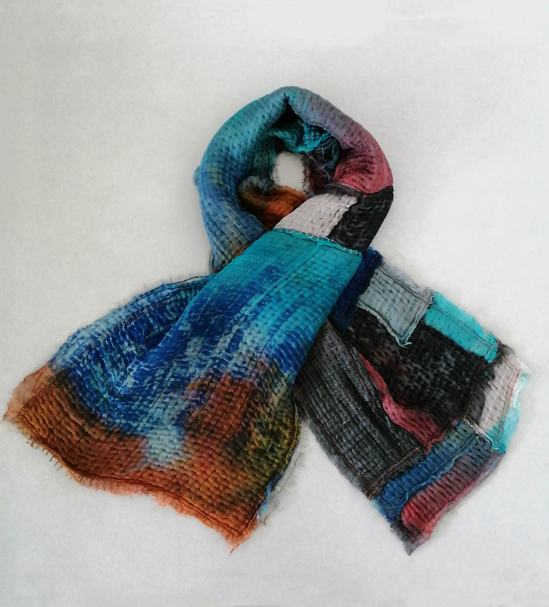 Patchwork scarf made from silk and wool, one of a kind