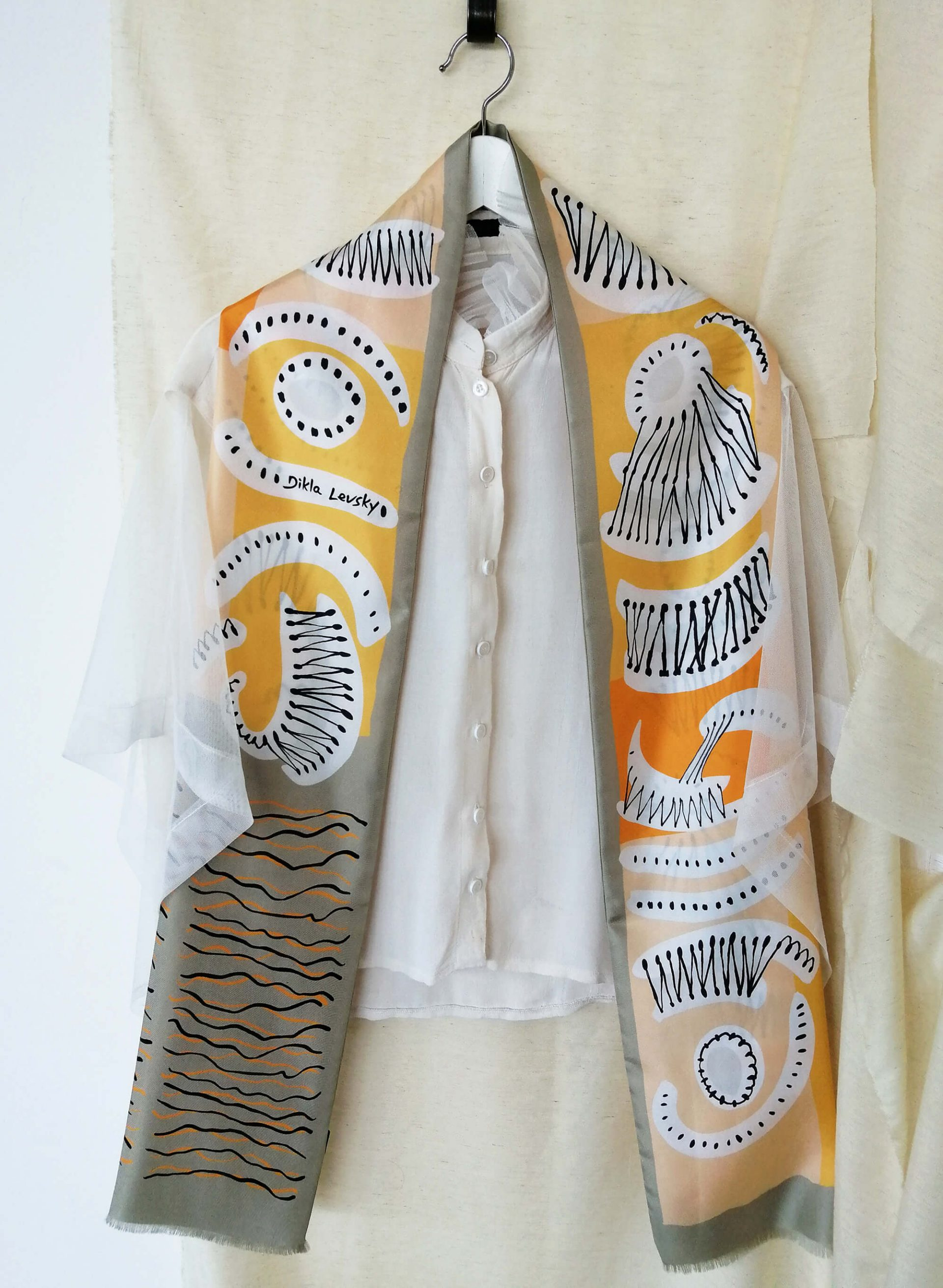 printed long silk scarf in soft colors