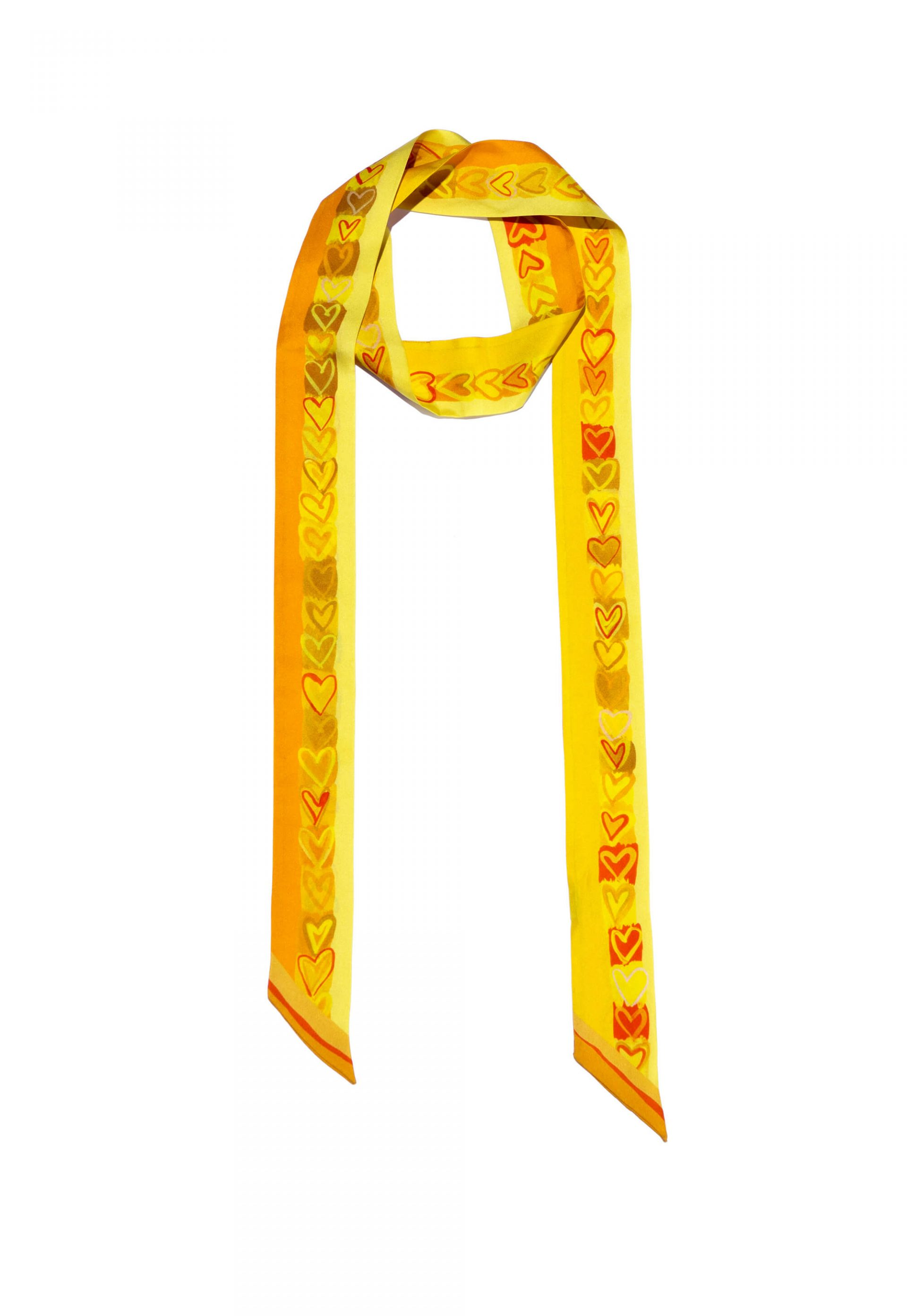 Yellow twilly silk scarf, Long and narrow scarf with printed hearts by Dikla Levsky