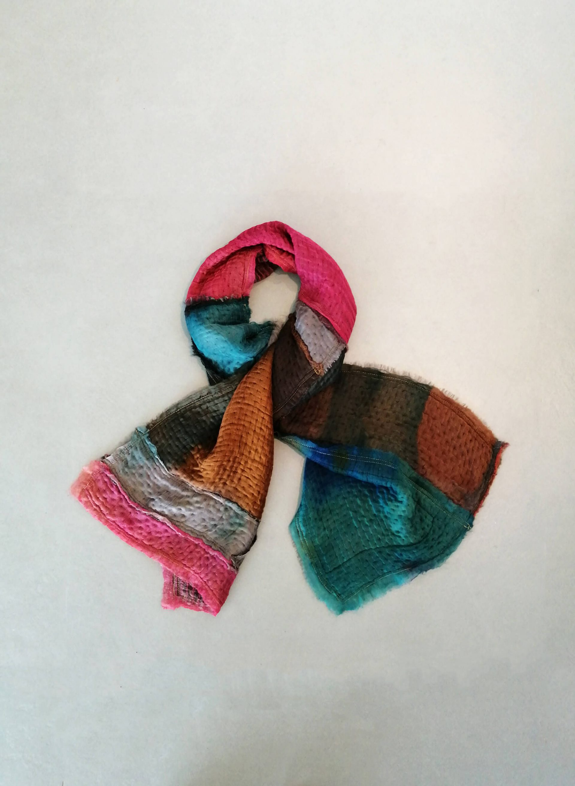 handmade patchwork shawl, colorful silk and wool scarf