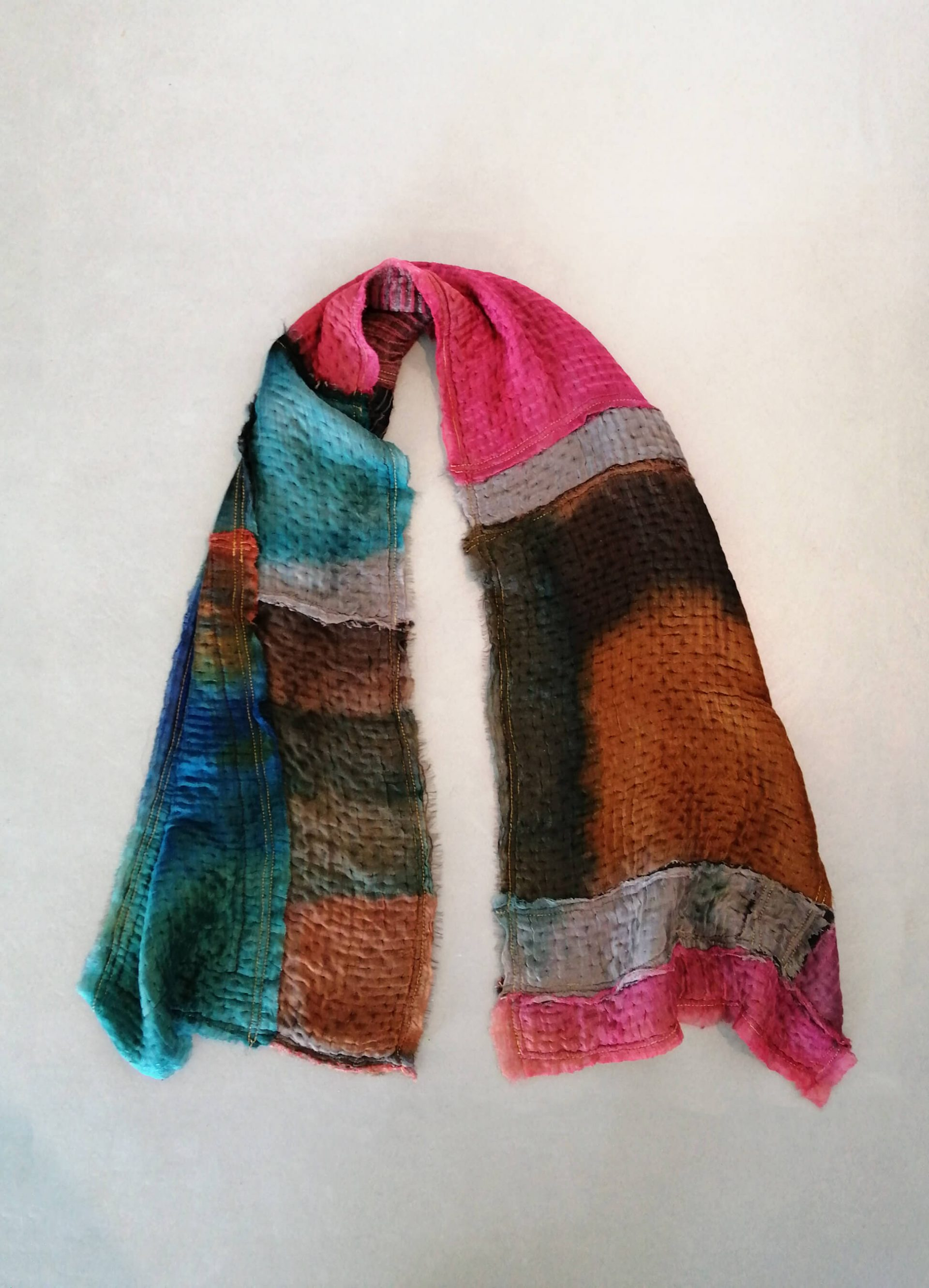 colorful silk and wool shawl, handmade patchwork scarf