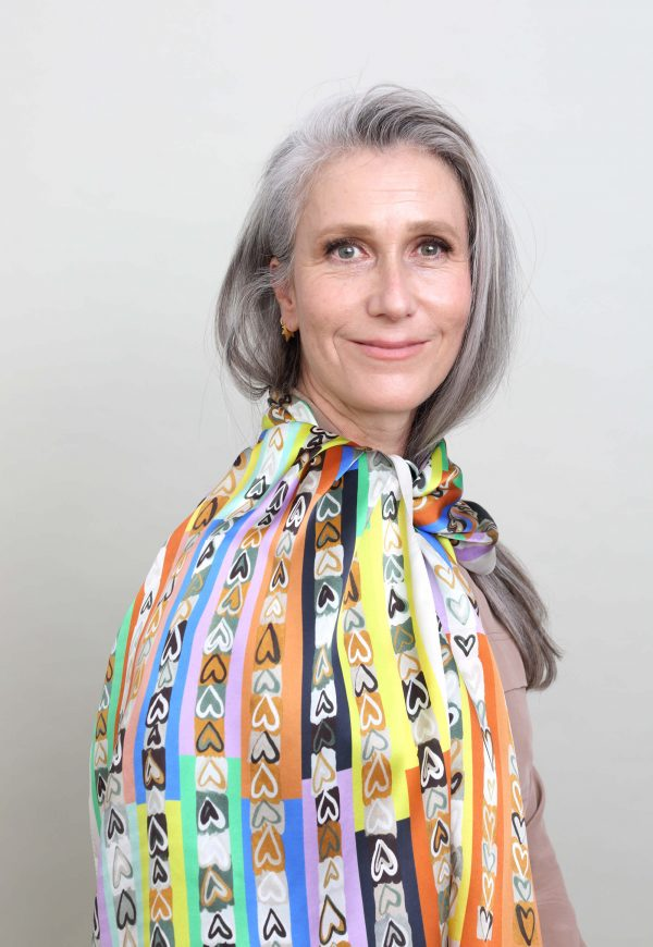 colorful silk scarf, printed scarf with hearts by Dikla Levsky