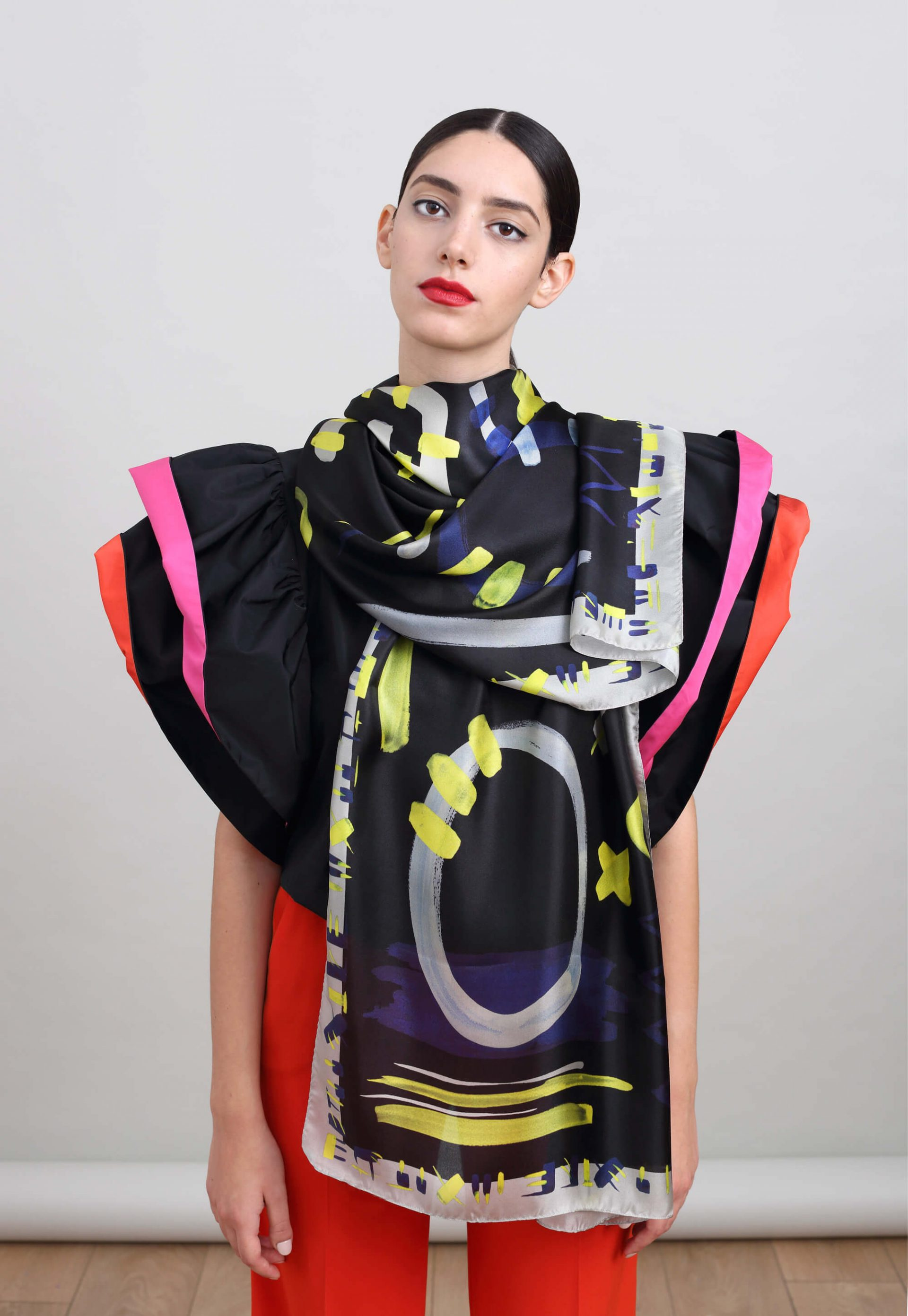 printed silk scarf in bold black, neon and blue. Oblong printed shawl