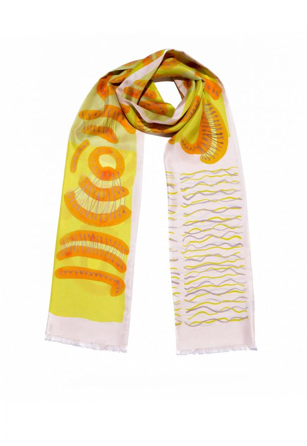 printed silk scarf in narrow shape. Double sided twilly scarf