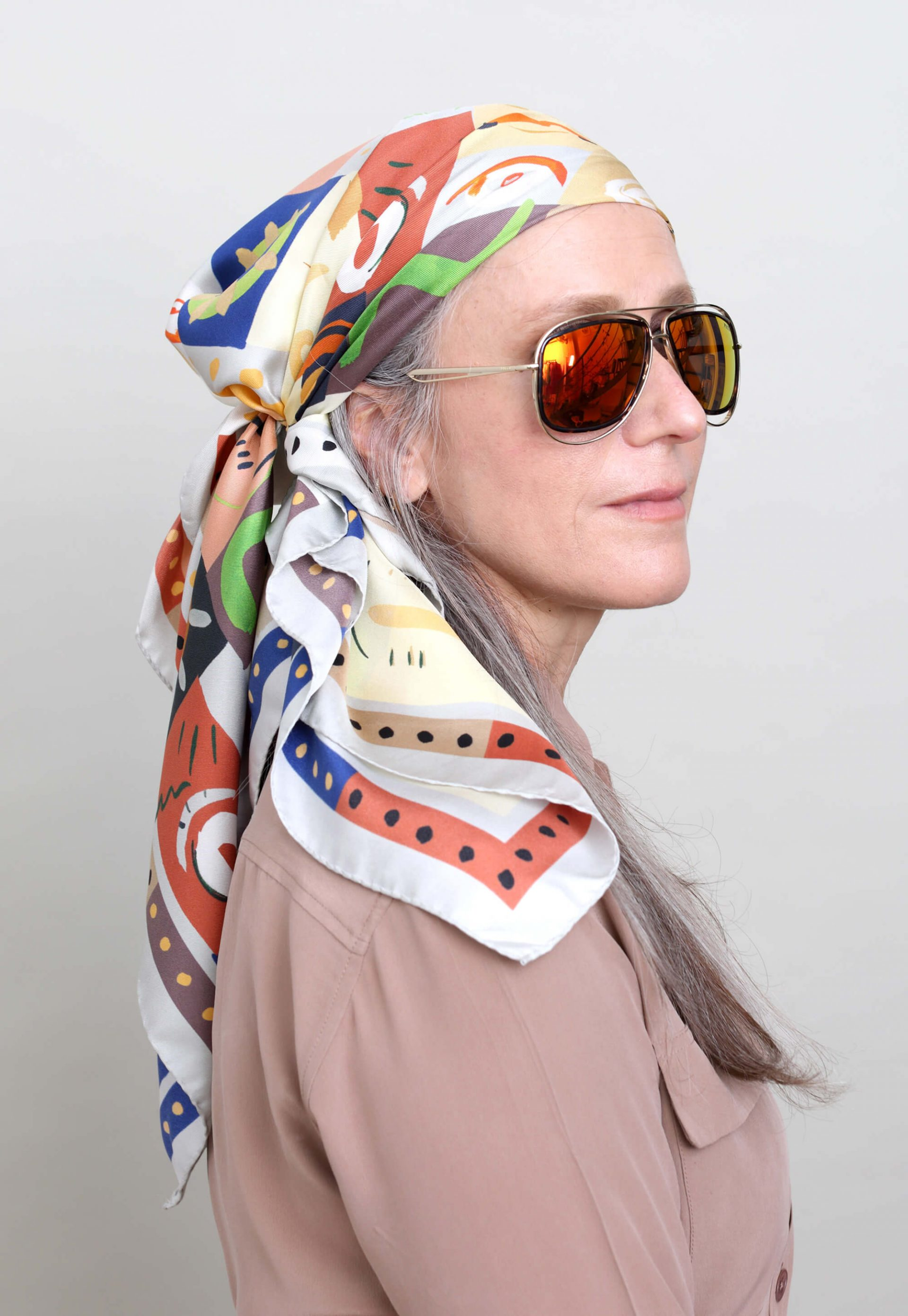 printed silk scarf in light colors, perfect as a head scarf