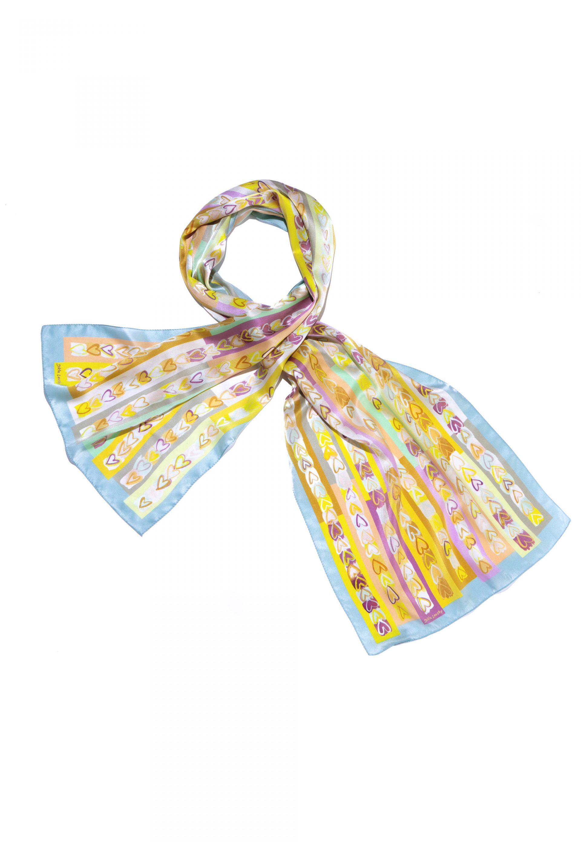 long printed silk scarf with hearts in soft colors