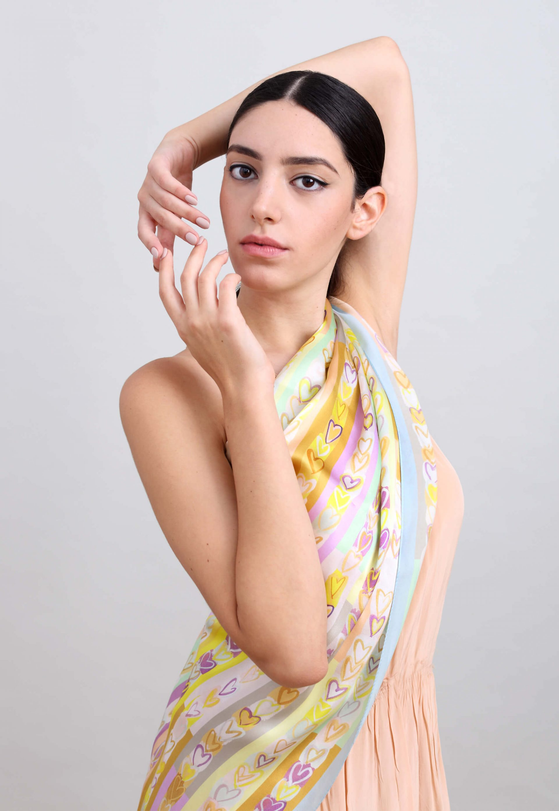 romantic silk scarf, printed with hearts in soft colors