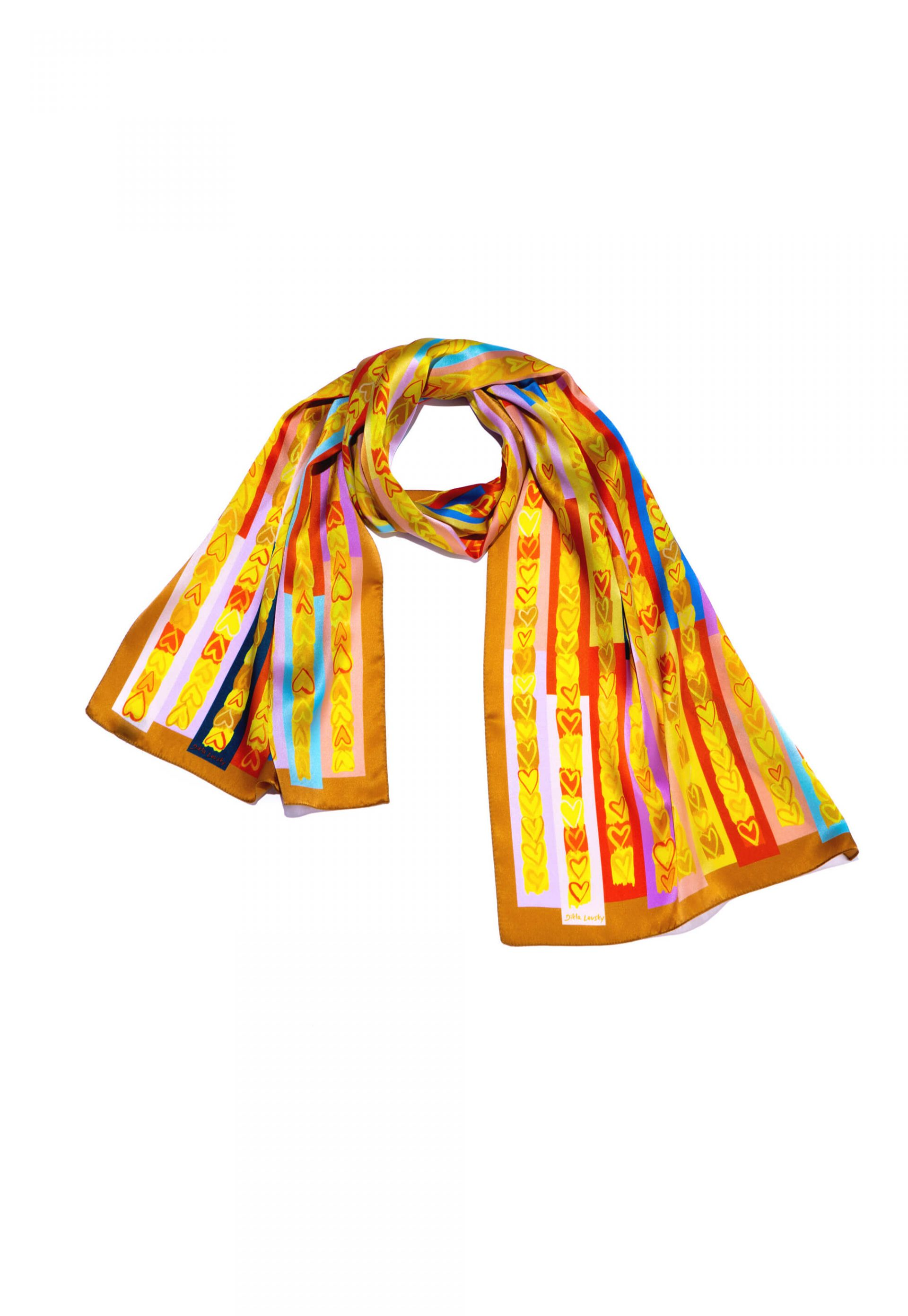 printed silk scarf with hearts in multi color