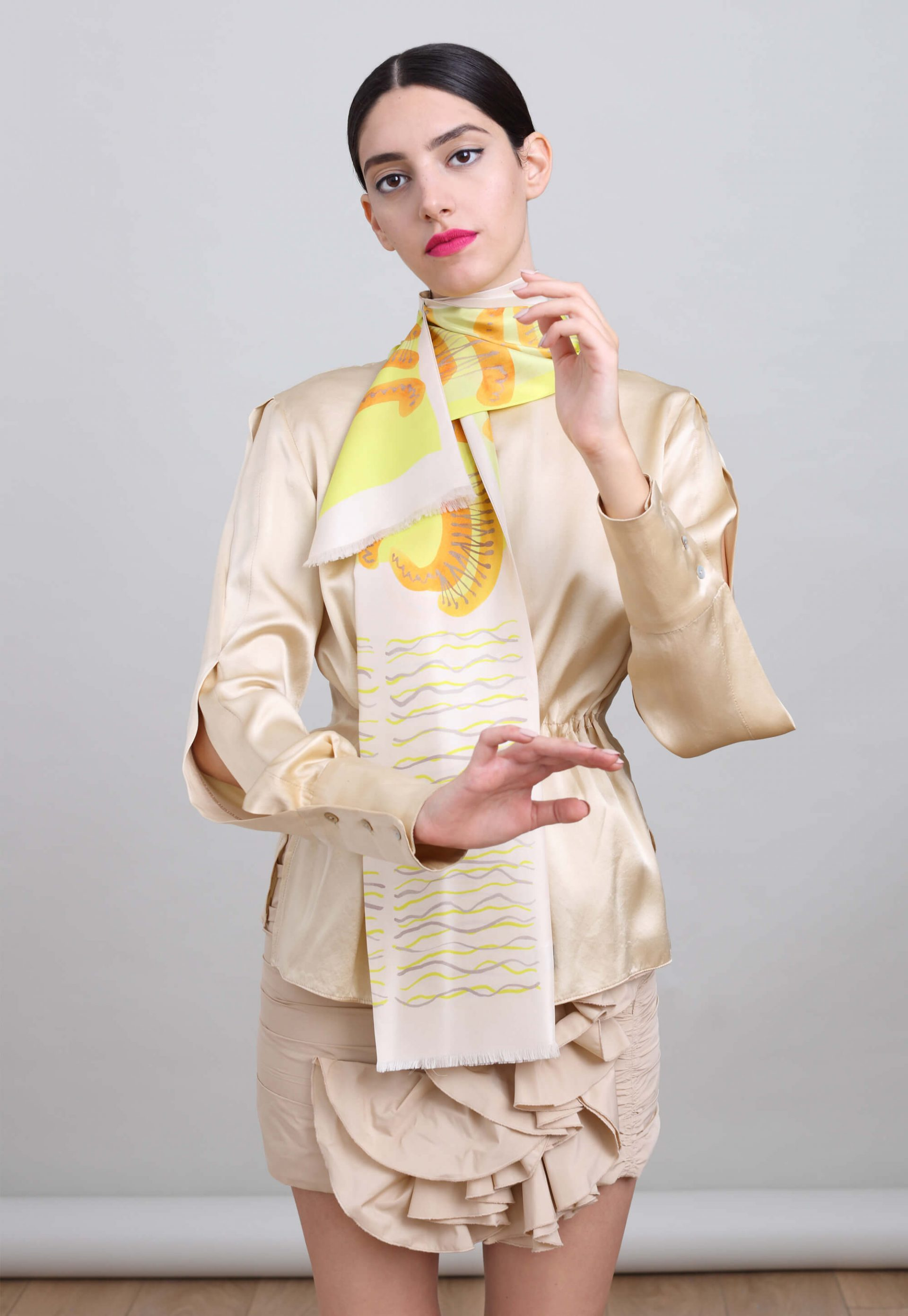 printed narrow silk twill scarf in soft colors