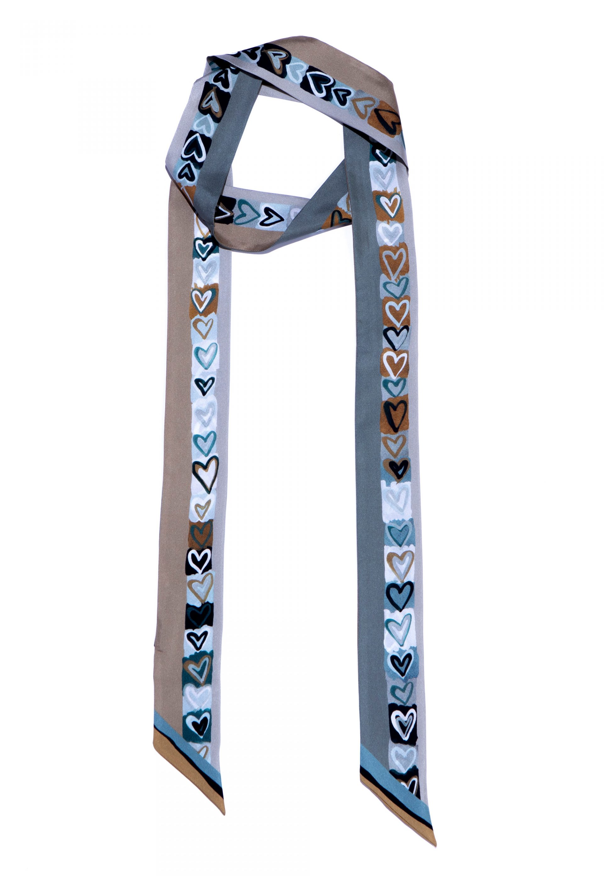 skinny silk scarf in grey tones with printed hearts in black and white