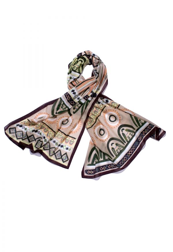 Printed long cotton scarf with faces