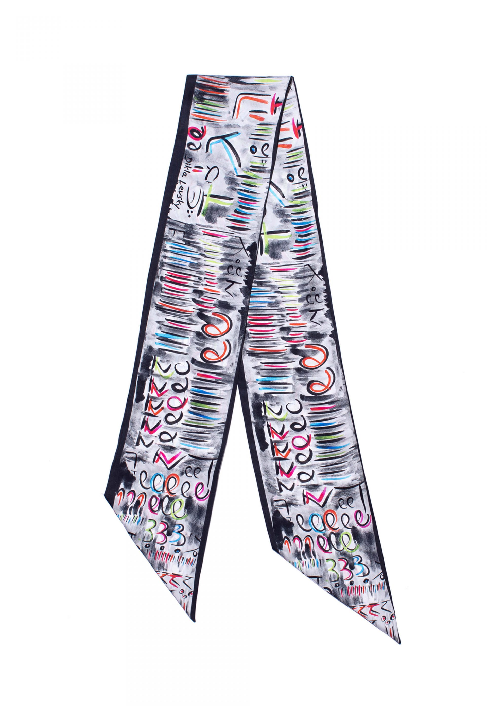 printed twilly scarf in black and white