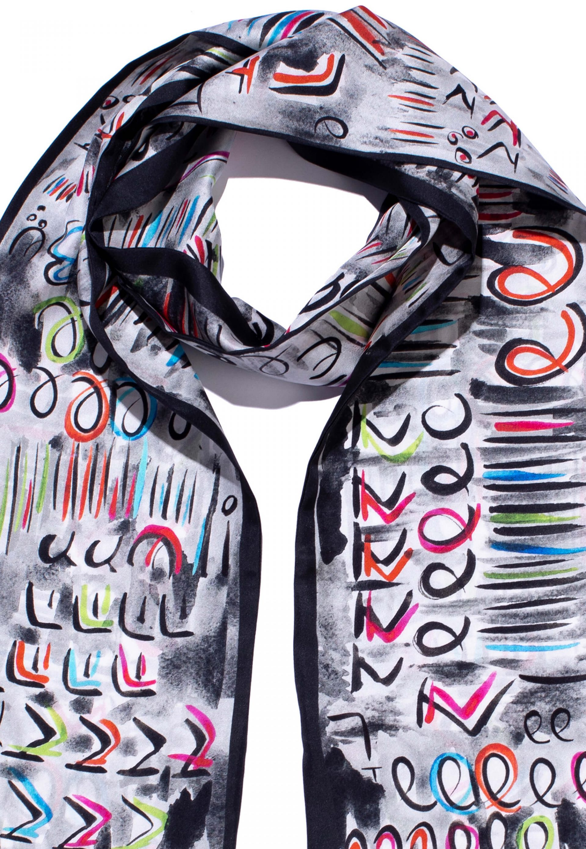 Double sided twill silk scarf, Made in Italy. Original designer scarf by Dikla Levsky