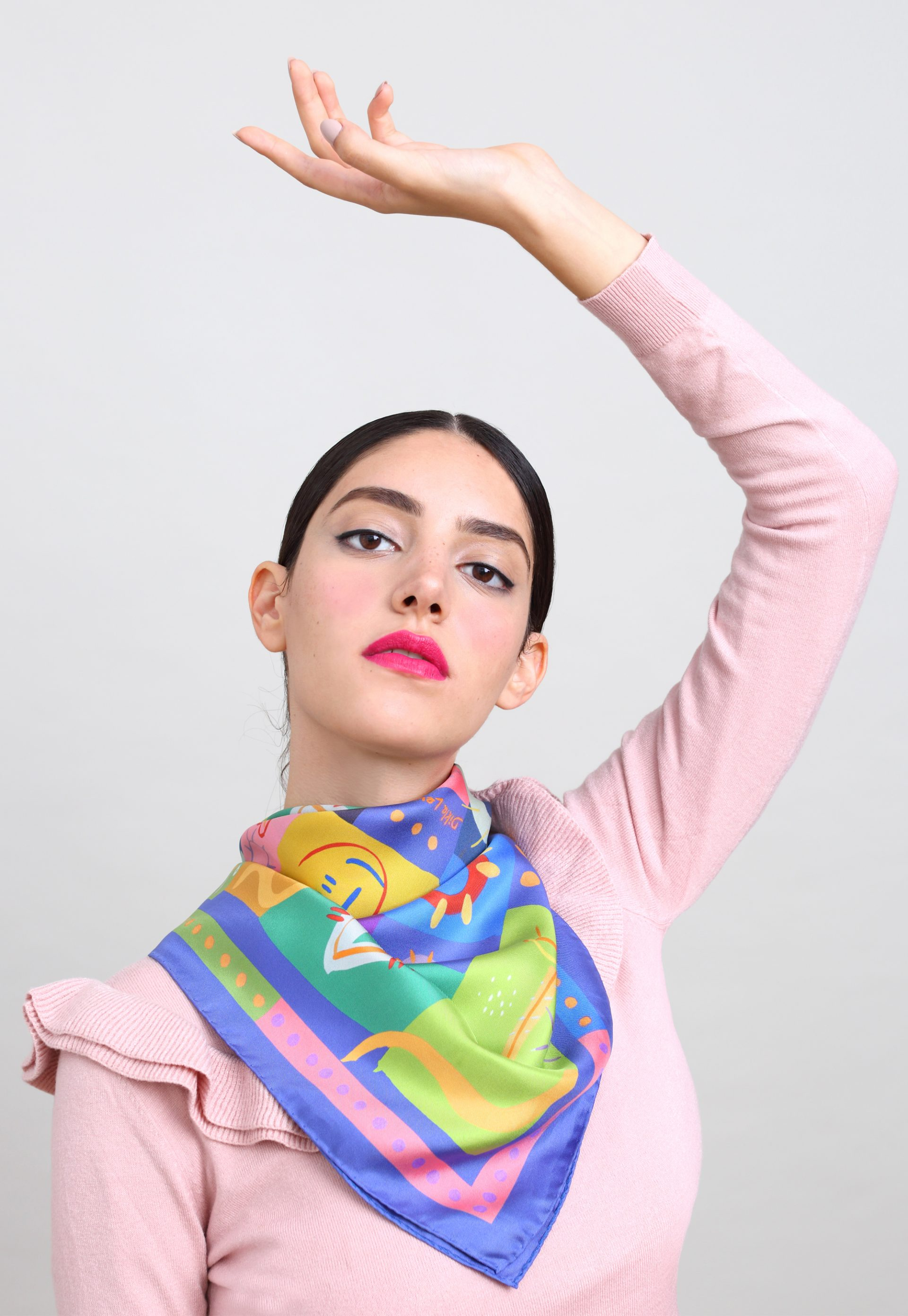 Printed square silk twill scarf. colorful foulard soie