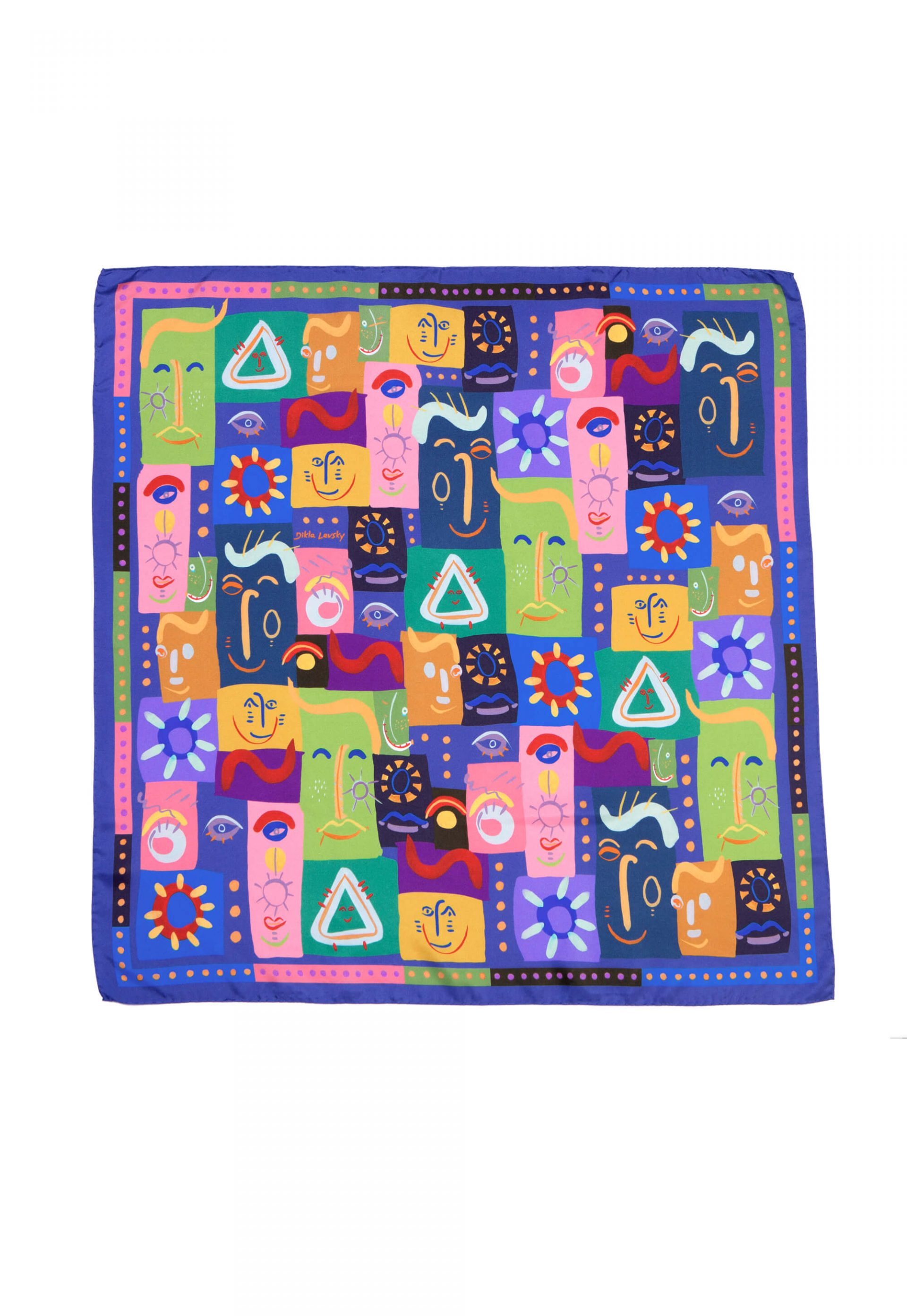 Printed square silk scarf, Colorful twill foulard