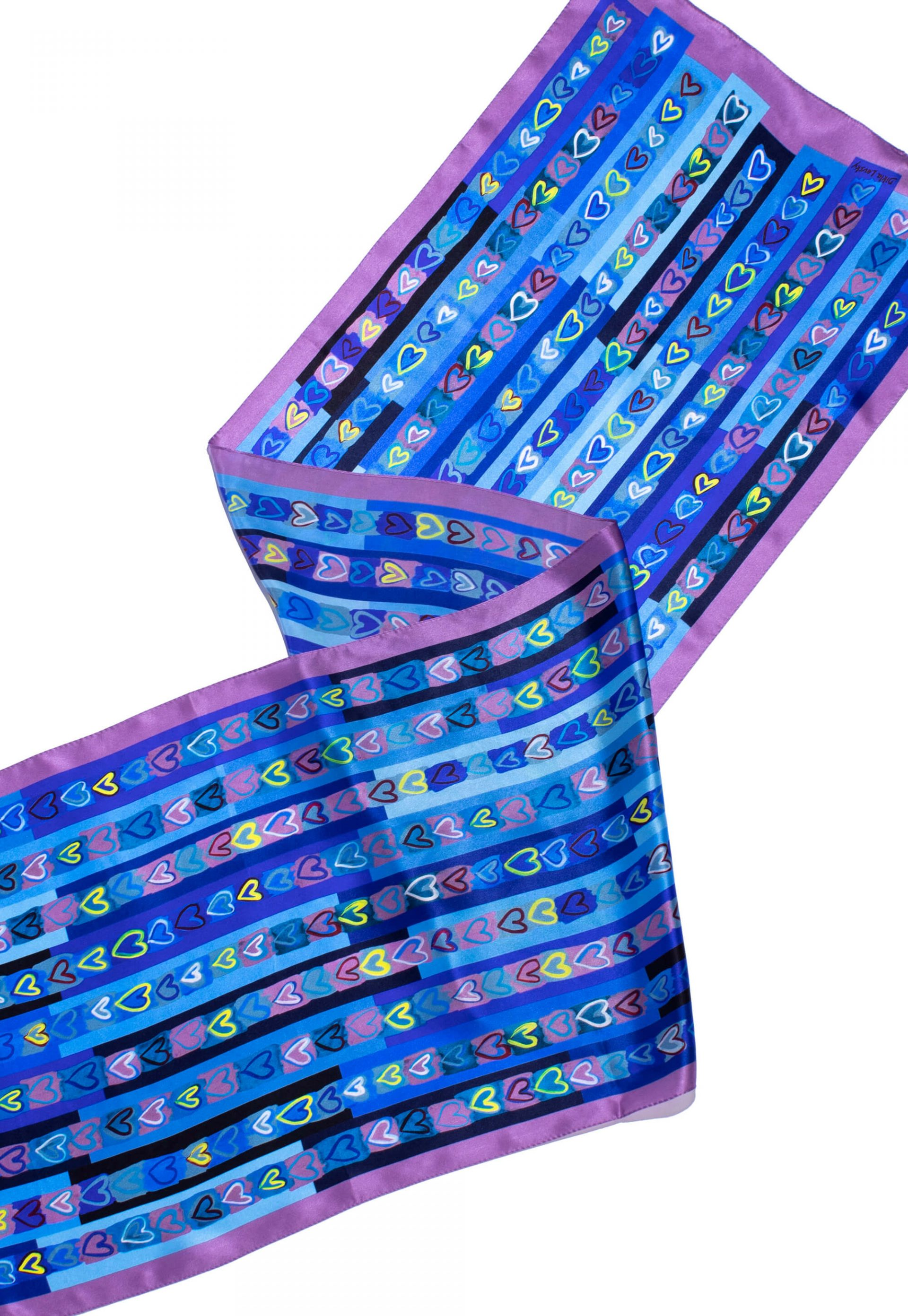 Printed silk satin scarf with blue hearts