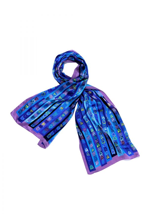 printed silk scarf with blue hearts