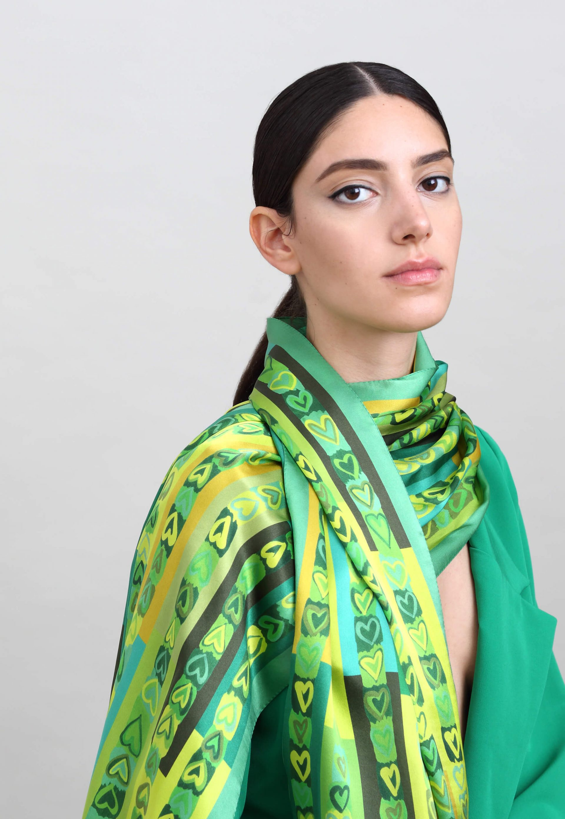 Printed silk scarf, Green scarf with hearts, Designer scarf