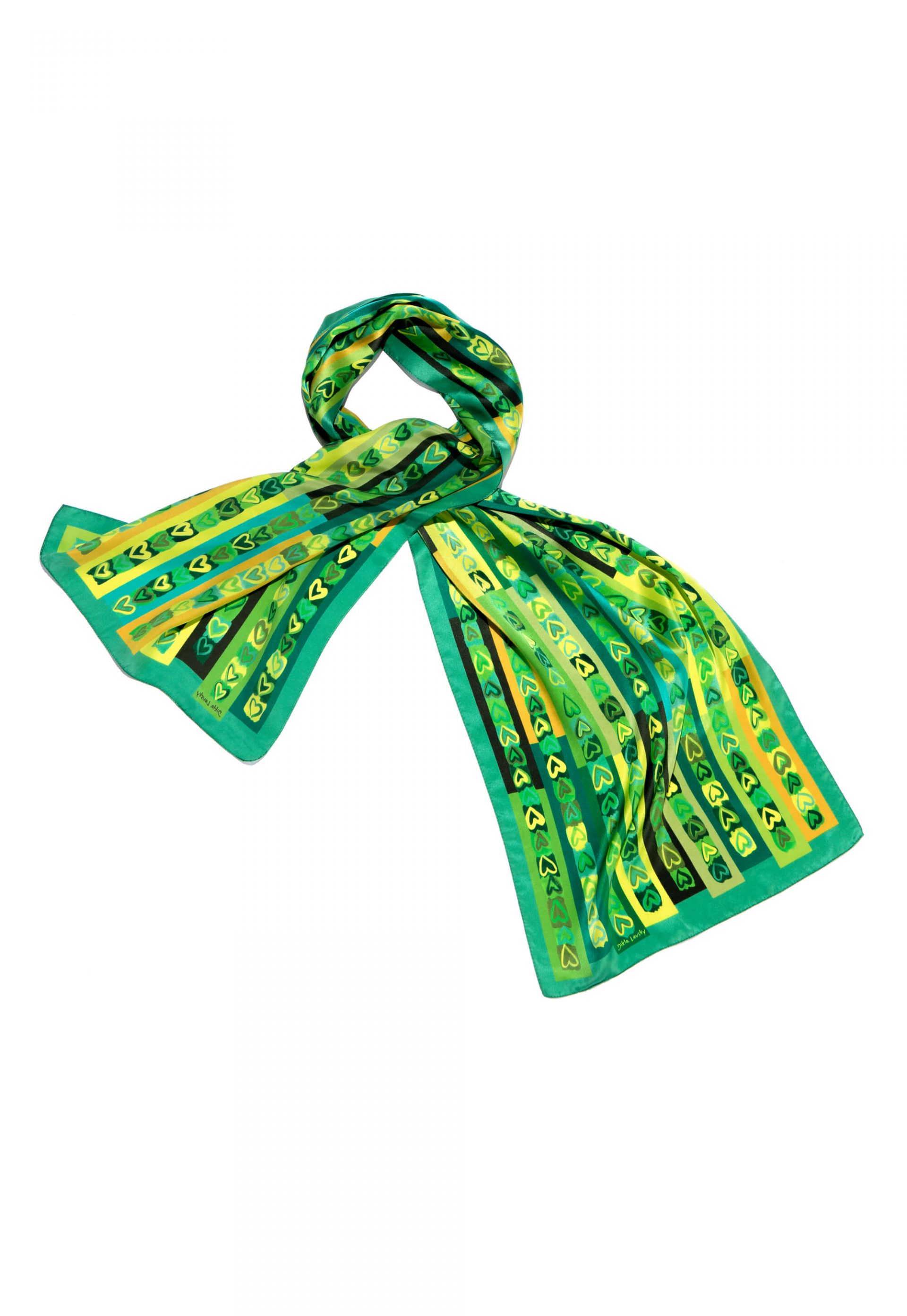 Printed silk scarf in green tones with hand drawn hearts by Dikla Levsky