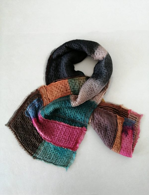 Patchwork shawl in smoked colors, Handmade One of A kind shawl