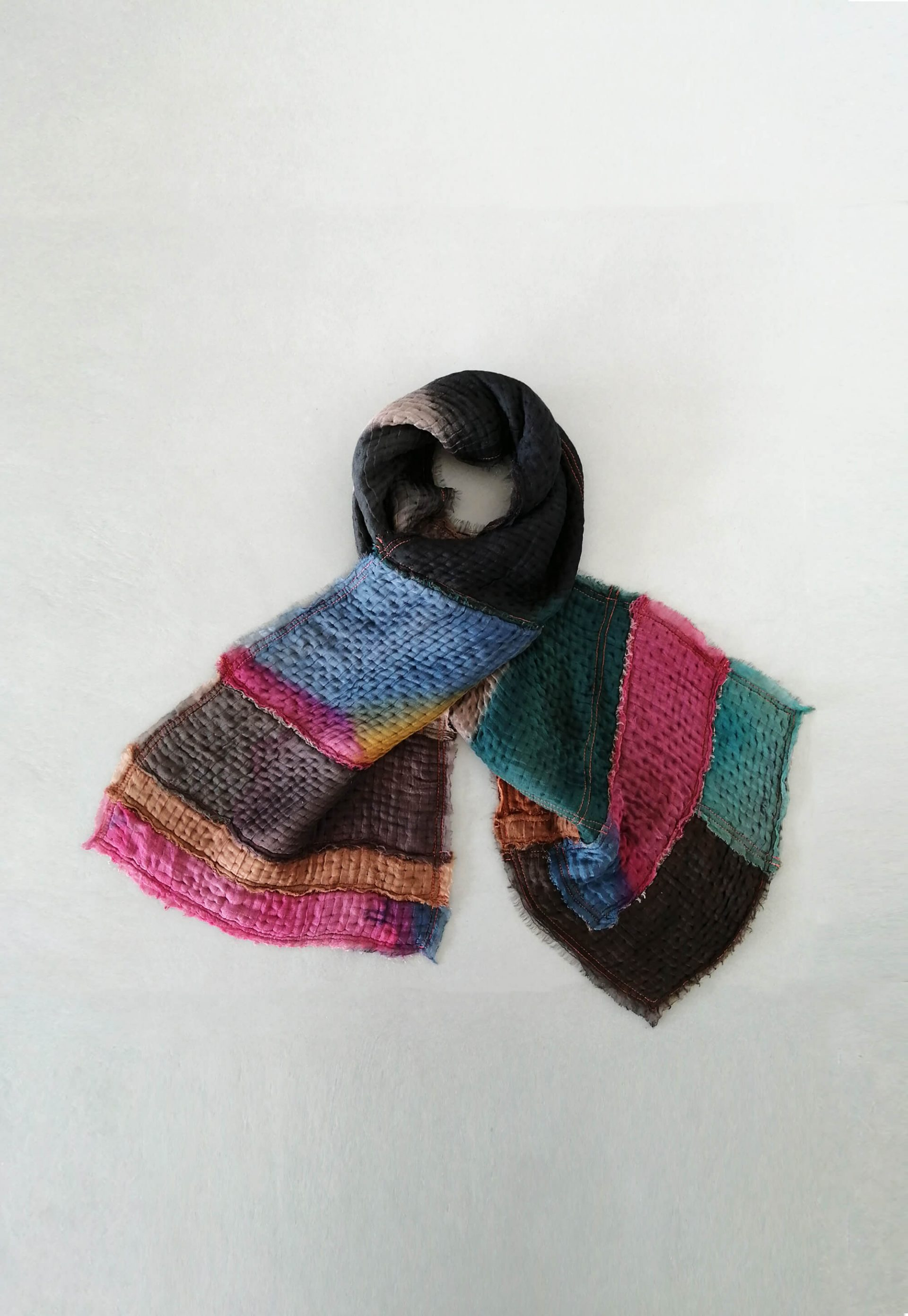 Handmade patchwork shawl in smoked colors